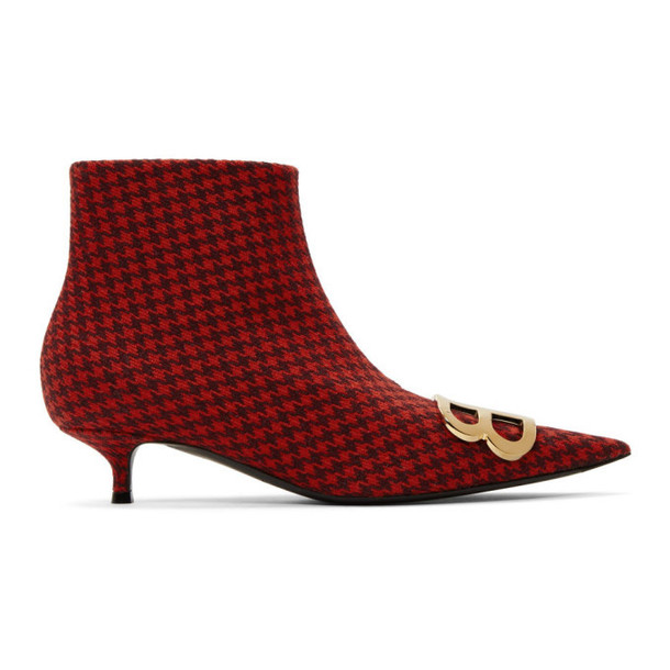 Balenciaga Red Houndstooth BB Booties