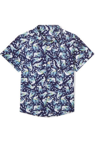 Thorsun Kids - Georgie Printed Cotton-poplin Shirt - Navy