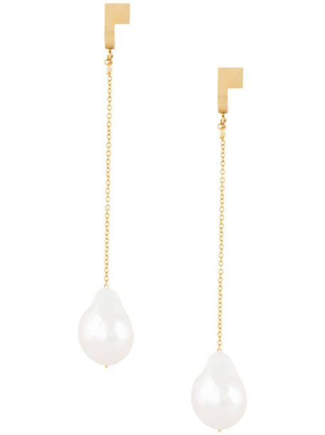 Hsu Jewellery chain pearl drop earrings in gold