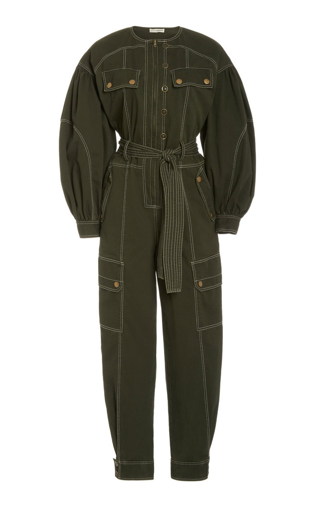 Ulla Johnson Stearling Cotton Utilitarian Jumpsuit in green