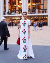 dress,maxi dress,white dress,sleeveless dress,floral dress,white t-shirt,red bag