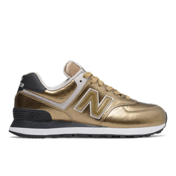 New Balance 574 Women's 574 Shoes - Gold/Black (WL574WEP)
