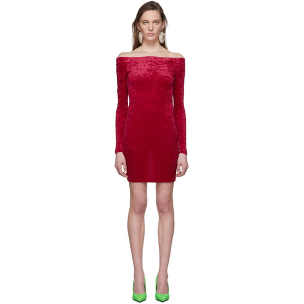 Balenciaga Red Crushed Velvet Shorts Dress