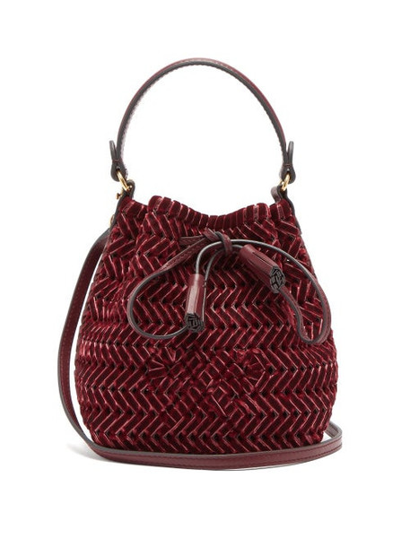Anya Hindmarch - The Neeson Mini Whipstitch Velvet Bucket Bag - Womens - Burgundy