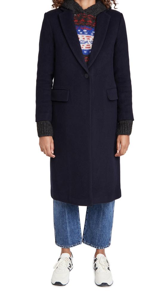 Club Monaco Slim Tailored Wool Coat in navy