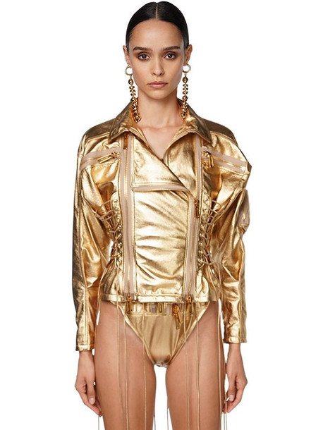 DSQUARED2 Lace-up Leather Biker Jacket in gold