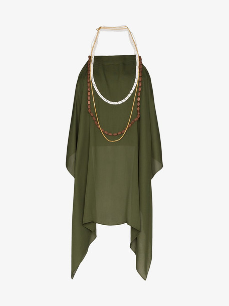 Jacquemus JACQ HLTR NK SLVLS TOP W BDNG BCKLS in green