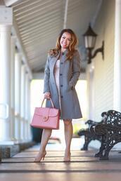 stylish petite,blogger,dress,coat,shoes,bag