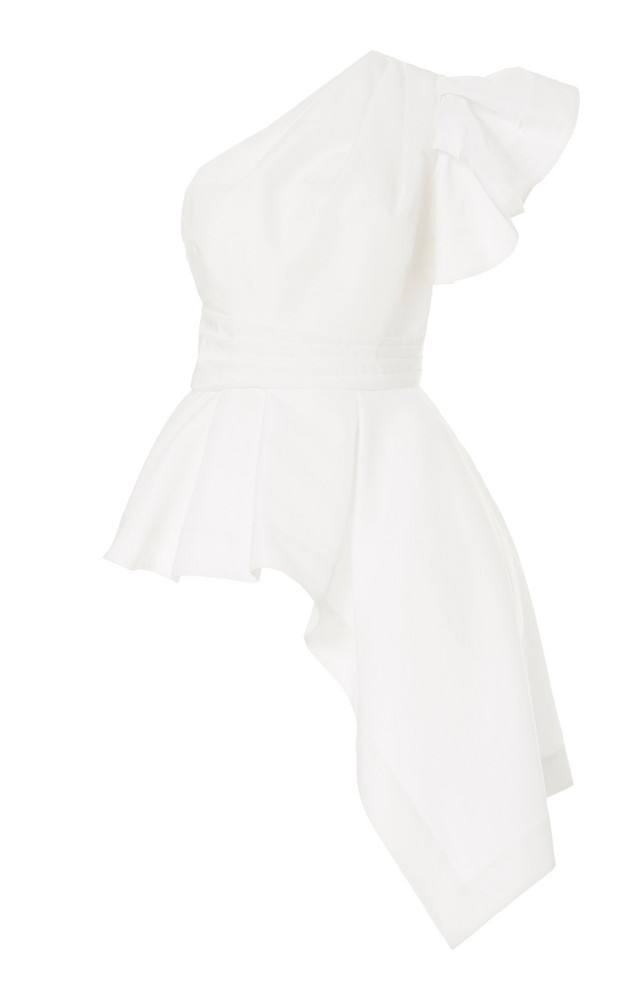 AMUR Liberty One-Shoulder Blouse in white