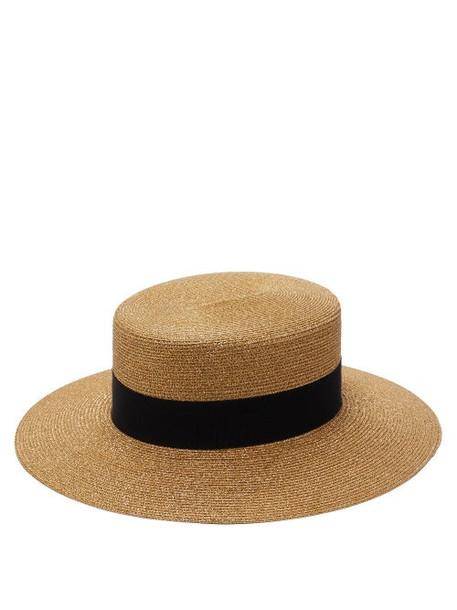 Gucci - Bee-logo Faux-straw Boater Hat - Womens - Beige