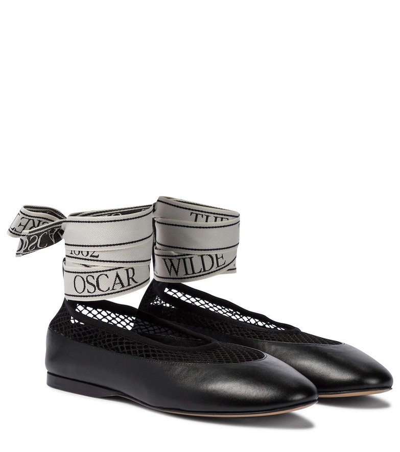 JW Anderson Mesh-trimmed leather ballet flats in black