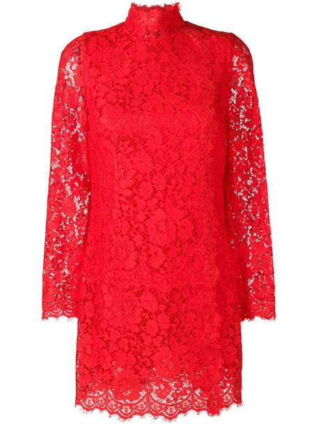 Dolce & Gabbana lace mini dress in red