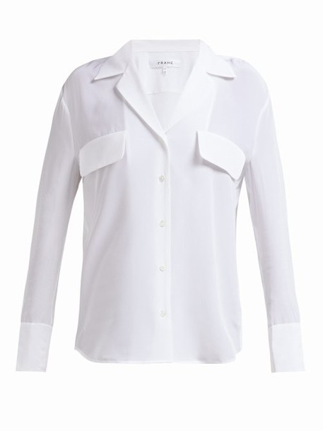Frame - Silk V Neck Shirt - Womens - White