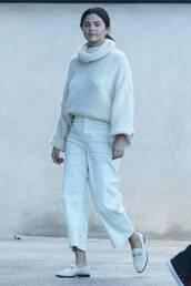shoes,sweater,turtleneck sweater,casual,selena gomez,pants