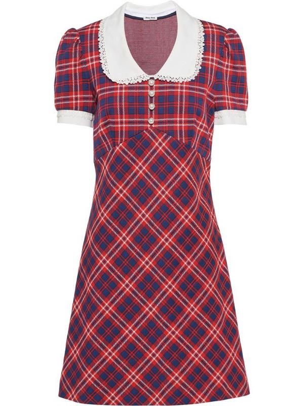 Miu Miu checked A-line dress in red