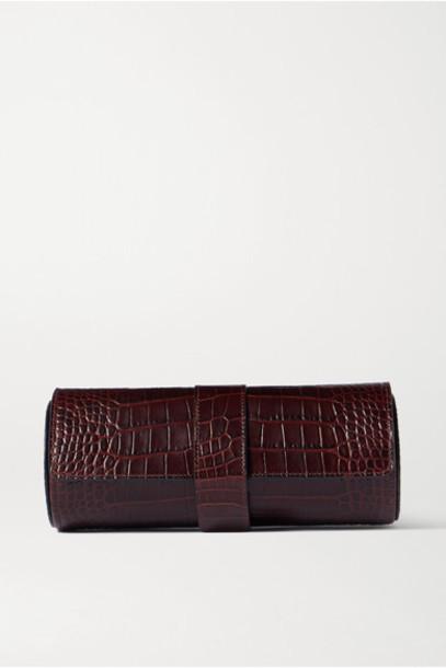 Smythson - Mara Glossed Croc-effect Lleather Watch Roll - Merlot