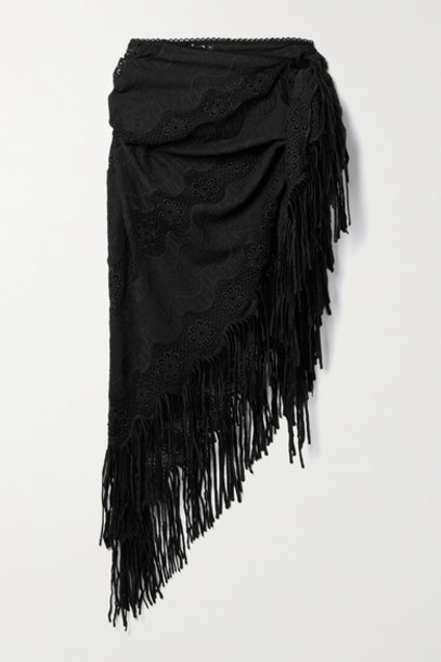 Miguelina - Julia Fringed Crochet-trimmed Embroidered Cotton-blend Pareo - Black