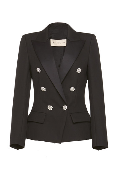 Alexandre Vauthier Embellished Double Breasted Blazer in black