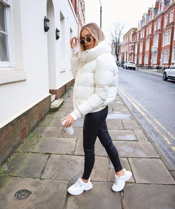 jacket white jacket bomber jacket white sneakers black leather pants