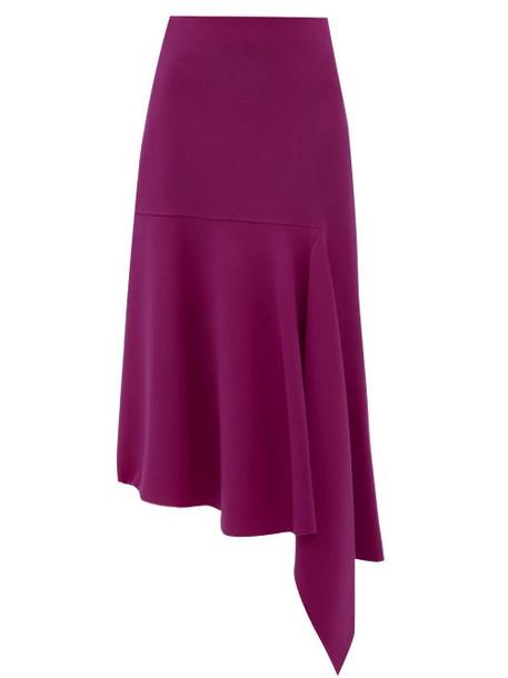 Balenciaga - Asymmetric Wool Blend Midi Skirt - Womens - Fuchsia