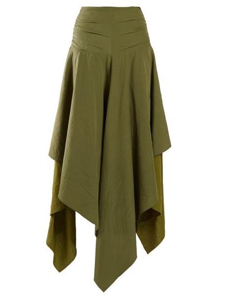 Loewe - Handkerchief Hem Linen And Crepe Skirt - Womens - Dark Green