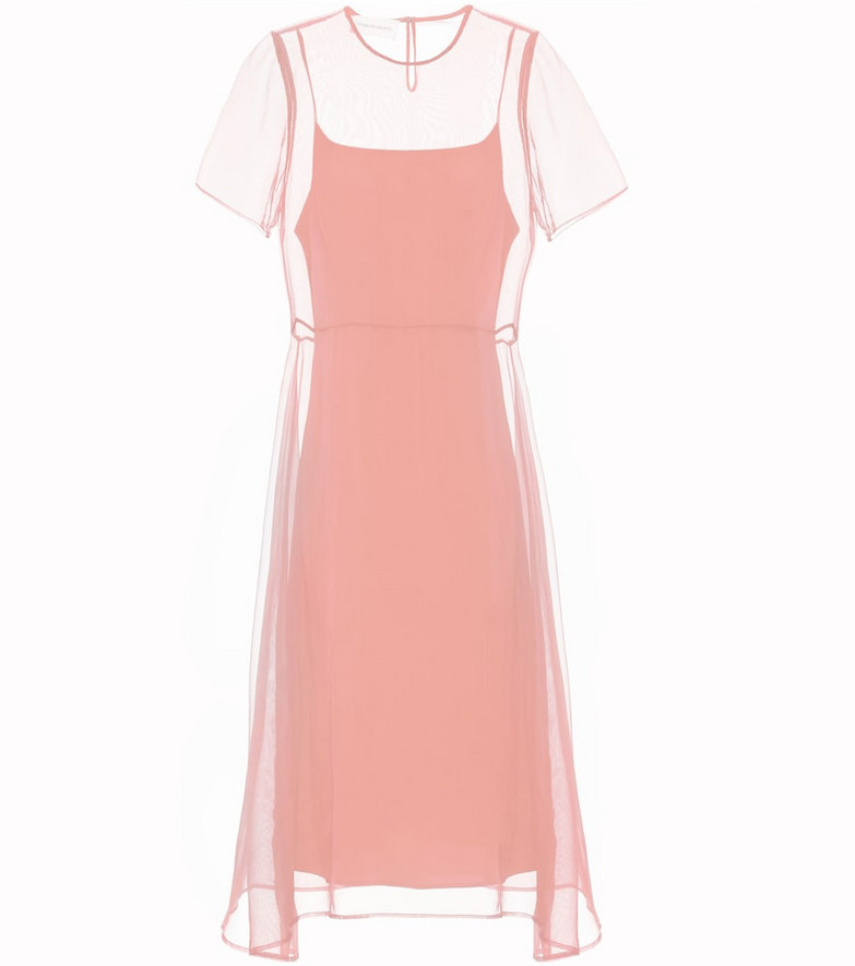 Mansur Gavriel Layered silk dress in pink
