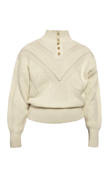 Anna October Anna Textured Wool Sweater Size: S in white