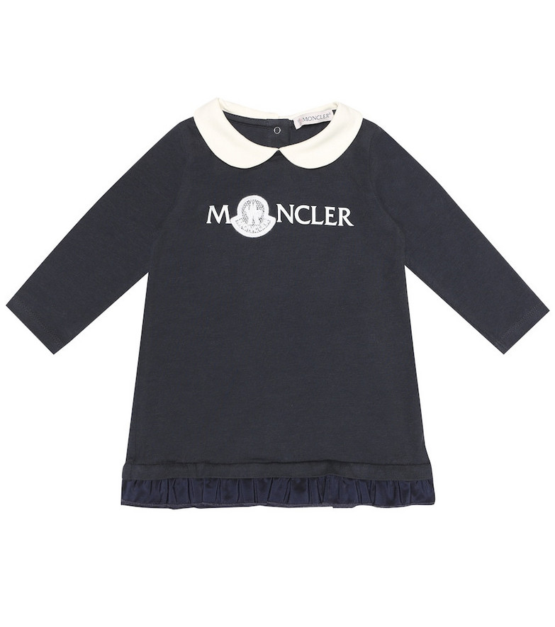 Moncler Enfant Baby logo jersey dress in blue