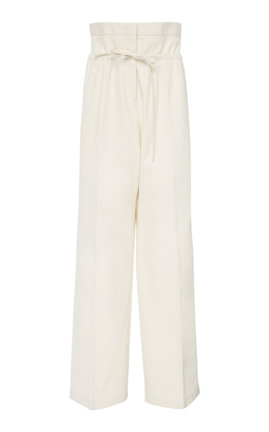 Jil Sander Gable Cotton-Twill Wide-Leg Pants in white