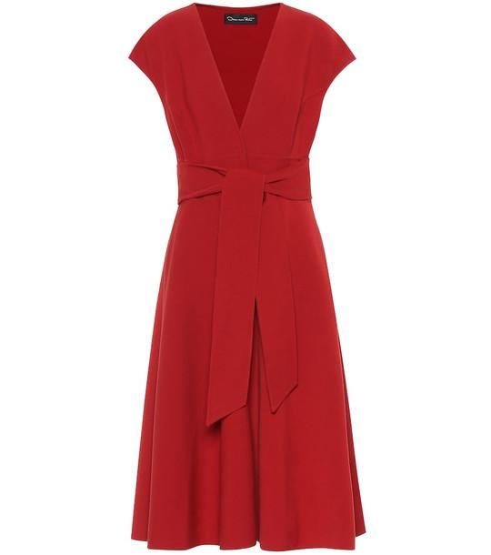 Oscar de la Renta Wool-blend midi dress in red