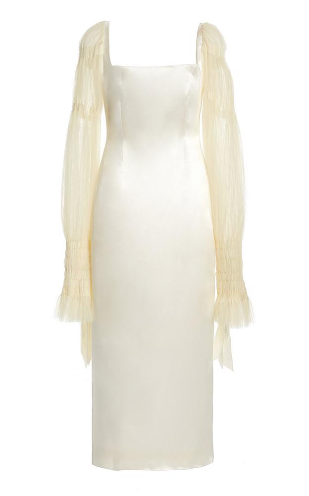 Danielle Frankel Ruby Tulle-Sleeve Wool-Silk Midi Dress in white