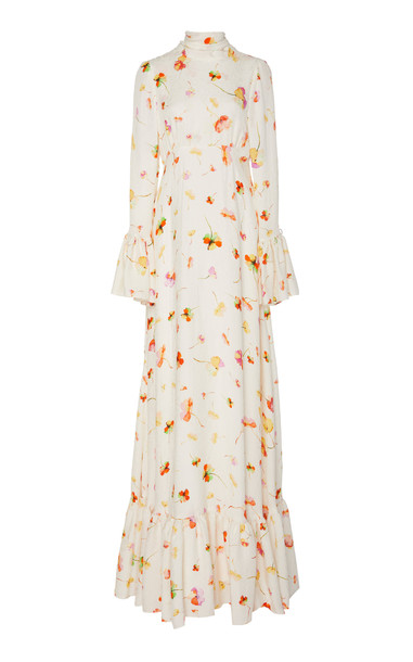 Monique Lhuillier Floral Printed Crepe With Wide Flounce Gown in white