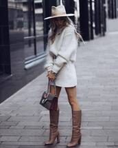 sweater,mohair sweater,mohair,white sweater,brown boots,knee high boots,bag,white skirt,mini skirt,felt hat