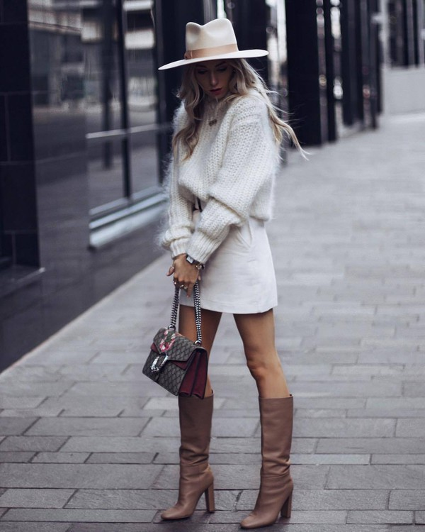 sweater mohair sweater mohair white sweater brown boots knee high boots bag white skirt mini skirt felt hat