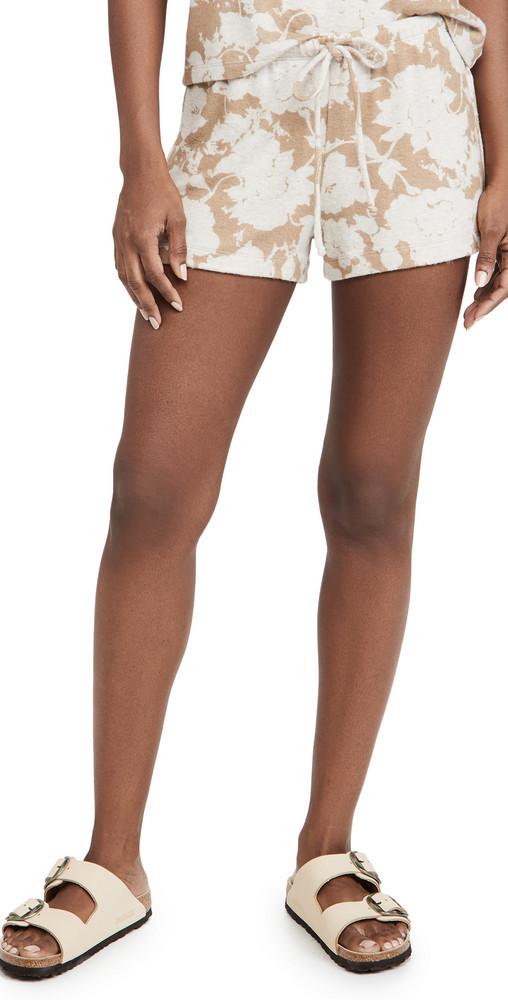 Leset Lori Floral Drawstring Shorts in beige