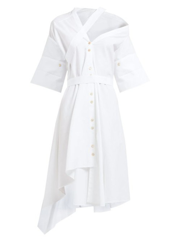 Palmer/harding Palmer//harding - Heathers Asymmetric Panelled Cotton Midi Dress - Womens - White