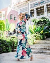 dress,maxi dress,floral dress,long sleeve dress,etro,sandals,bag