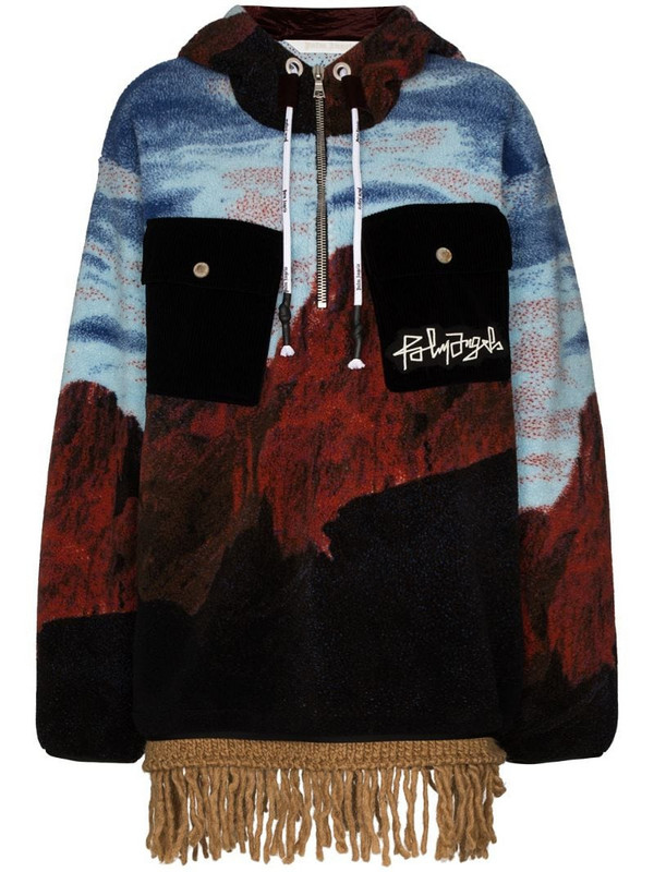 Palm Angels Canyon fringed-edge hoodie in blue