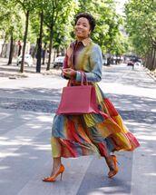 dress,maxi dress,rainbow,dior,pumps,denim shirt,pink bag