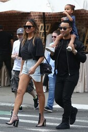 shoes,pvc,pvc boots,chrissy teigen,celebrity,spring outfits,denim shorts