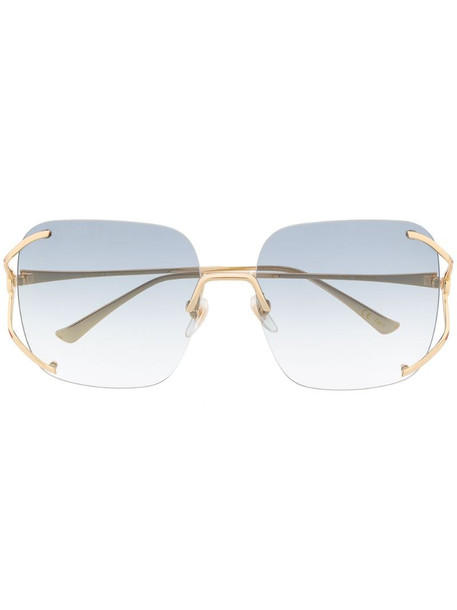Gucci Eyewear rimless square-frame sunglasses in green