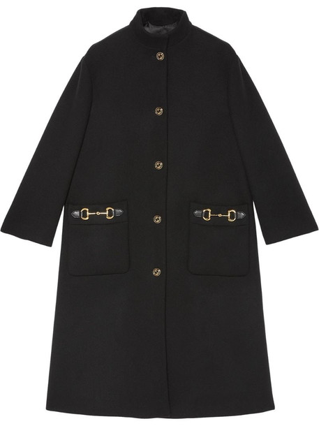 Gucci Horsebit-detail single-breasted coat in black
