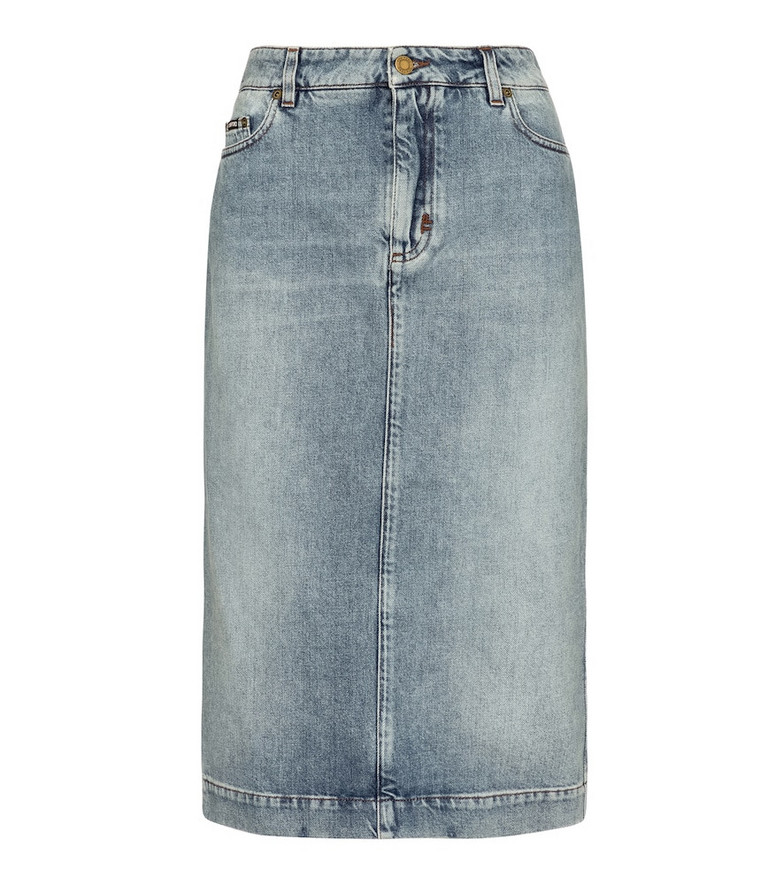 Tom Ford Denim midi skirt in blue