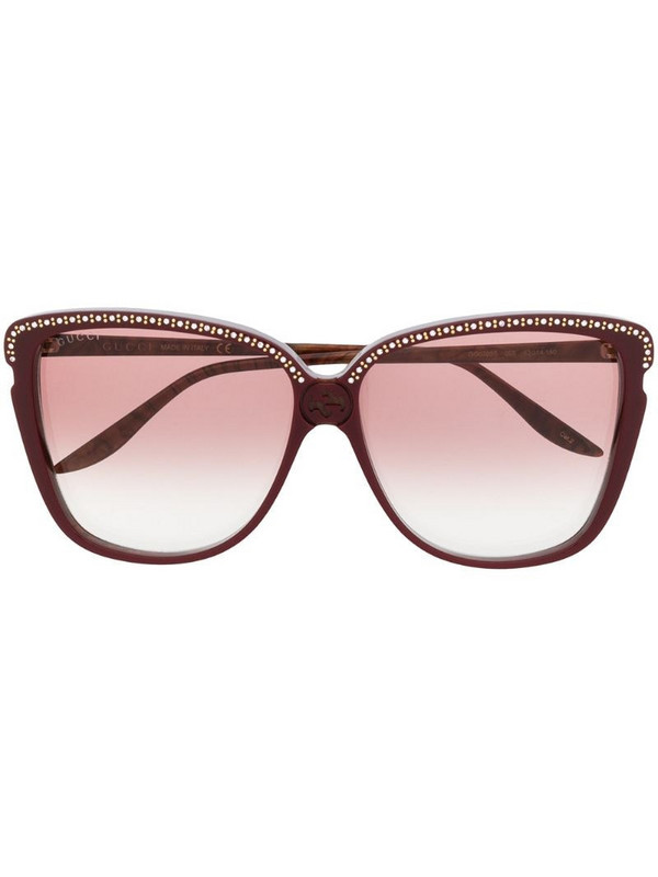 Gucci Eyewear crystal and stud-embellished square-frame sunglasses in brown