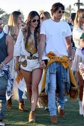 shorts,alessandra ambrosio,model off-duty,coachella,coachella outfit,jacket,swimwear,one piece swimsuit,gold