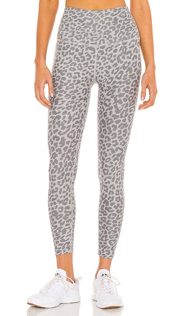 Beyond Yoga Spacedye Printed Caught in the Midi High Waisted Legging in Grey in silver / leopard