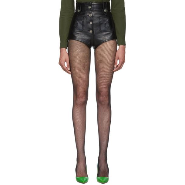Miu Miu Black Leather Hot Pants