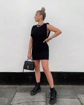 bag,black bag,ysl bag,black boots,mini dress,black dress