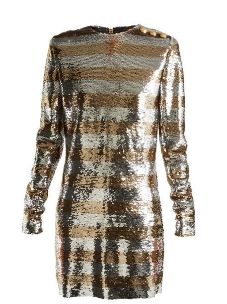Balmain - Boat Neck Mini Dress - Womens - Silver Gold