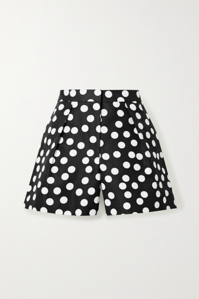 Carolina Herrera - Pleated Polka-dot Cotton And Silk-blend Faille Shorts - Black